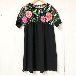 Black Shift Mini Dress w Floral Embroidery
